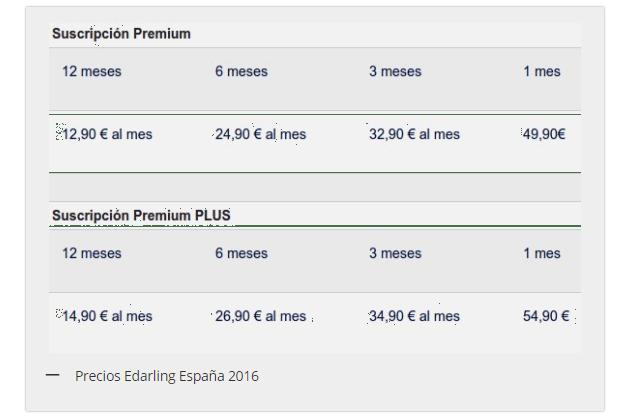 la tabla de precios la web de contactos edarling